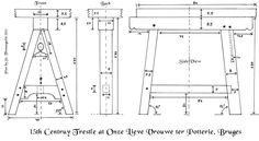Thomas guild - medieval woodworking, furniture and other crafts: A century trestle table from Bruges Diy Furniture Plans, Woodworking Furniture, Furniture Making, Furniture Projects, Woodworking For Kids, Woodworking Plans, Woodworking Projects, Woodworking Techniques, Trestle Table Plans