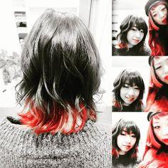 WEBSTA @ masami12040120 - 美容師友達。今度はもっと面白いカラーにしよーね☺✂💙💚💛💛💜#モノクロ#赤髪#グラデーションカラー#イゴラペンタpyr #マニパニ#クレオローズ#throw#美容師#美容師仲間✂︎ #いつもありがとう#外はねボブ #巻き髪#ヘアカラー#今日の髪 #ちらりずむ#巻き髪#hair#haircolor#hairstyle#bobhair#redhair