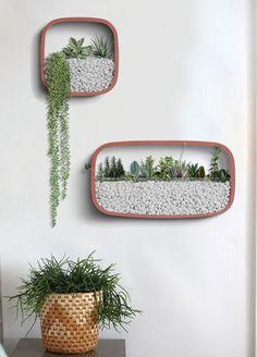 Wall Mounted Planters, Hanging Plants, Indoor Wall Planters, Indoor Plants, Concrete Planters, Vertical Garden Design, Vertical Gardens, Decoration Plante, Walled Garden