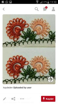 This Pin was discovered by Niğ Embroidery Patterns, Hand Embroidery, Crazy Quilt Blocks, Crochet Borders, Needle Lace, Crochet Trim, Hair Pins, Tatting, Diy And Crafts