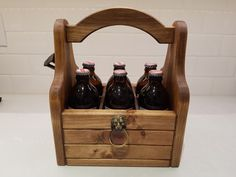 Artisan Crafted Beer Carrier with Rustic Bottle by NiagaraCrafters