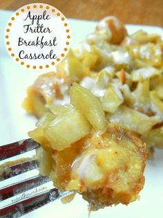 Apple Fritter Breakfast Casserole - Main image for recipe of casserole on plate with a fork full. Breakfast Potluck, Breakfast For A Crowd, Breakfast Casserole Easy, Breakfast Plate, Food For A Crowd, Breakfast Time, Breakfast Dishes, Best Breakfast, Breakfast Recipes