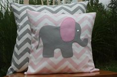 Modern Grey and Pink Elephant Chevron Pillow Cover by nest2impress, $16.99
