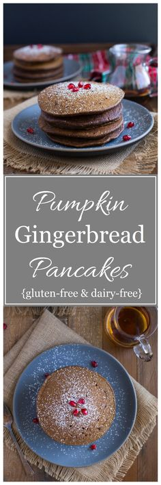 Pumpkin Gingerbread Pancakes- made with wholesome ingredients and packed with gingerbread flavor! {gluten-free, dairy-free and refined sugar-free}