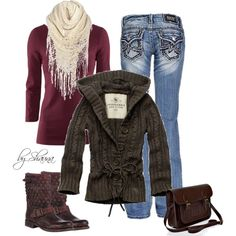 Winter Outfit: Purple top, Blue Jeans, White Scarf. Brown Sweater, Boots & Purse.
