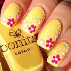 Flowers do not always open, but the beautiful Floral nail art is available all year round. Choose your favorite Best Floral Nail art Designs 2018 here! We offer Best Floral Nail art Designs 2018 .If you're a Floral Nail art Design lover , join us now ! Yellow Nails Design, Yellow Nail Art, Floral Nail Art, Dot Nail Art, Pink Art, Fingernail Designs, Cute Nail Art Designs, Nail Designs Spring, Pedicure Designs