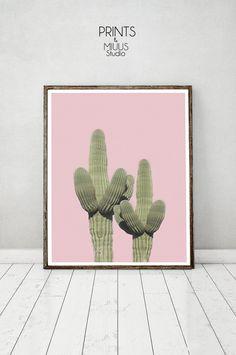 Cactus Art Cactus Print Pink Cactus Poster by PrintsMiuusStudio