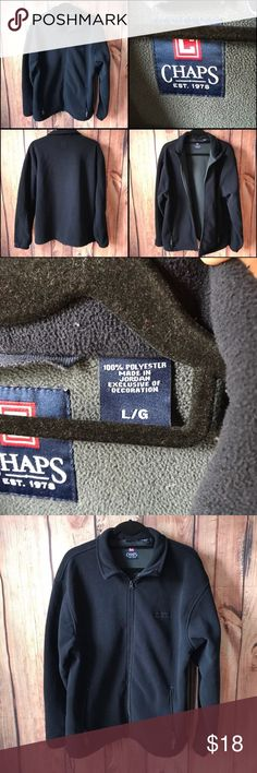 Chaps Ralph Lauren Fleece Jacket Men's Chaps Fleece Jacket Sweater. Full Zipper. Two front zippered pockets. Navy Blue Color. Size Large. In great condition, no flaws. From smoke free home. Chaps Jackets & Coats Performance Jackets