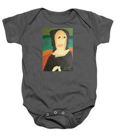 Patrick Francis Charcoal Designer Baby Onesie featuring the painting Mona Lisa 2014 - After Leonardo Da Vinci by Patrick Francis