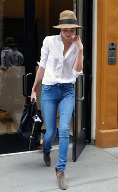 Pair a clean, white button up top with your favorite pair of jeans for an easy way to look well put together. You can wear boots, like Miranda here, but your favorite pair of Chuck's, sandals, or a nice platform all work nicely! #trendygirl