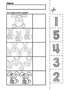 $1 | Teach counting skills with Easter Bunnies! Great for teaching 1:1 counting skills and number recognition for numbers 1-5. No prep and great for math centers! #preschool #preschoolers #preschoolactivities #kindergarten #Homeschooling #mathcenters #easter