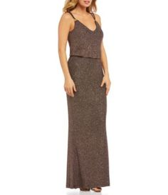 Calvin Klein Glitter Knit Sleeveless Blouson Gown #Dillards