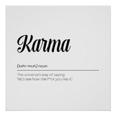 Karma Definition Funny Poster - funny quote quotes memes lol customize cyo