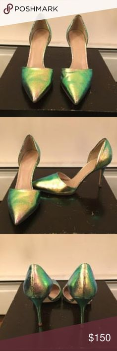 JCREW IRIDESCENT HOLOGRAM ELSIE D'ORSAY HEELS brand new never worn outside.  scuffs from trying on wood floors.  green - ish, iridescent, shiny.  fabulous and fun.  attaching more info from orig jcrew ad J. Crew Shoes Heels