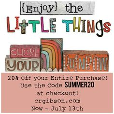 "Discount code to get 20% off your entire purchase on Things With Wings' line for C.R. Gibson - ""{Enjoy} the Little Things."" http://www.crgibson.com/shop-by-brand/things-with-wings.html?p=1"