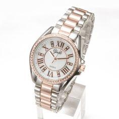 YAKI Elegante Uhren Damen Armbanduhr Damenuhren Analog Quarz Fashion Uhr mit Strass 83302-R
