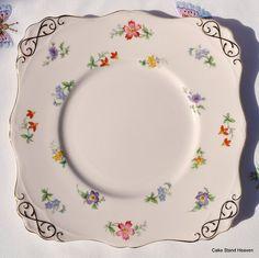 Pink Vintage Tuscan China Tea Set Cake Plate