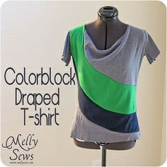Free pattern: Color blocked cowl neck tee · Sewing | CraftGossip.com