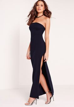 Get a super effortless, super sleek style fix this season with a little help from Missguided. This bandeau style maxi dress in a figure flattering navy fabric this screams get it or regret it. With seriously seductive side split detail this...