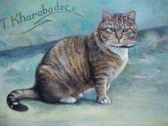 Lithuanian cat painting by Teimuraz Kharabadze