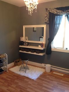 "Two floating shelves   four baskets   yard sale mirror painted white = makeup vanity :) I love my ""closet room""! DIY makeup table organization"