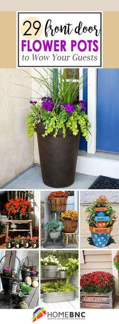 Front Door Flower Pot Ideas #LandscapeIdeasFrontYard