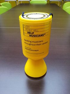 A new collecting tin for the Musicians Benevolent Fund.