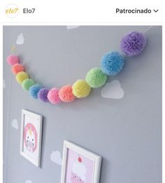 Inspiration: pompons in decoration – Crafts Kids Crafts, Cute Crafts, Diy And Crafts, Craft Projects, Arts And Crafts, Teen Girl Crafts, Pom Pom Crafts, Yarn Crafts, Creation Deco