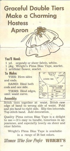 """Free Vintage """"Charming Hostess Apron"""" Pattern at Sharon Sews. Scanned graphic from a vintage magazine or newspaper."""