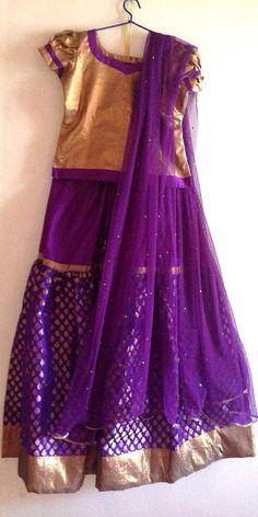 Girls bronze and violet brocade lehenga indian by Bubblinga