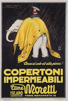 White elephant rain copertoni impermeabili moretti italian vintage poster repro
