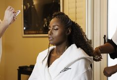 """Issa Rae Getting Ready for the 2017 NAACP Image Awards: While Rae slipped into her Stella Nolasco gown and got final glam touchups by makeup artist Joanna Simkin (who used all natural brand Burts Bees to achieve Rae's glow) and hair stylist Felicia Leatherwood, we listened to Sampha, Big Sean, Solange, Drake in what she would call her """"Sophistiratch Sounds"""" playlist. 