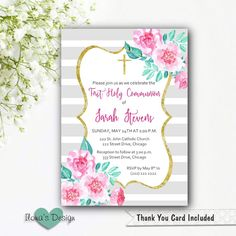 Party Invitations : Free Printable First Holy Communion Invitations with Damask Pattern Hard