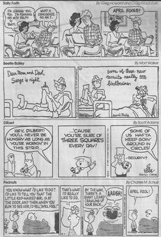 """The April Fools Switcheroo of 1997 was arranged by Rick Kirkman and Jerry Scott of """"Baby Blues.""""  Here are four of the 12 strips from that day shared on the dustincomics blog by Steve Kelley and Jeff Parker (4/01/14)"""