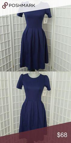 LuLaRoe Amelia S Bluish Purple Pleated Dress w/ Pockets. Beautiful!! LuLaRoe Dresses