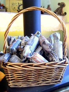 Homemade fire starters, dryer lint, toilet paper tube, newspaper-tie the ends with twine and dip in wax.