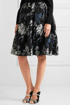 Erdem - Halyn Pleated Metallic Jacquard Skirt - Black - UK14