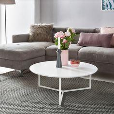 Wohnling Couchtisch Rund WL5.240 Aus MDF Platte Und Metall #Wohnzimmer #Weiß