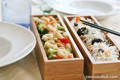 Receta de salteado de verduras y gambas con arroz basmati, muy rico y con muchas vitaminas. www.cocinasalud.com