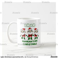 Funny Xmas Gifts, Ugly Christmas Sweater, Elves, Being Ugly, Photo Mugs, Funny Jokes, Create Your Own, Coffee Mugs, Monogram