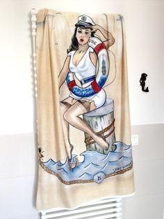 Neu! Strandtuch Sailor Pin-Up by Lena Kaufmann  Wonderland Gallery & Artshop St. Pauli Hein-Hoyer Str.40 20359 Hamburg