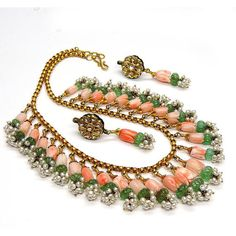 Vintage Coral Emerald Necklace Set 22k gold and single cut diamond, Rare beautiful 3 Piece Set, can be sold seperately