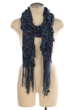 Blue Leopard Patterned Sweater Knit Scarf    This fashionable scarf is $16 with Free Shipping!!