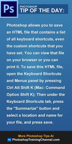 Photoshop allows you to save an HTML file that contains a list of all keyboard shortcuts, even the custom shortcuts that you have set. You can view that file on your browser or you can print it. To save this HTML file, open the Keyboard Shortcuts and Menus panel by pressing Ctrl Alt Shift K (Mac: Command Option Shift K). Then under the Keyboard Shortcuts tab, press the Summarize button and select a location and name for your file, and press save. #Photoshop