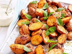 Serve these delicious Moroccan spiced potatoes with crème fraîche or light sour cream. Morrocan Food, Moroccan Dishes, Moroccan Spices, Moroccan Recipes, Moroccan Party Food, Persian Recipes, Potato Dishes, Potato Recipes, Potato Food