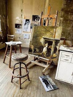Studio Andrew Wyeth with painting Raccoon on the easel.