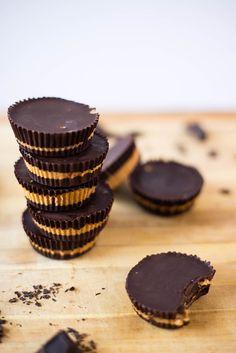 Dark Chocolate Peanut Butter Cups | 3 ingredients, healthy, clean, gluten-free and vegan = score! www.asweetpeachef.com