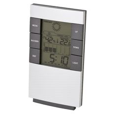 Desk Weather Station Description Backlight 6 Button Function Digital Weather Station Display Temperature Trend Display Alarm With Snooze Function, Day/Date, Temperature & barometer Matte Silver Finish Desktop or Wall Hang
