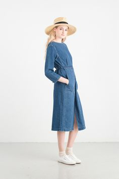Round Denim Long Dress, Blue