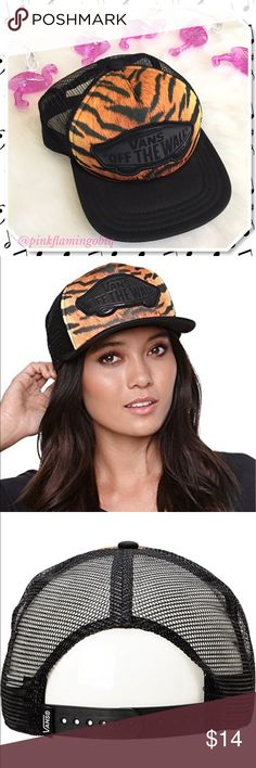 NWOT Vans Beach Girl Tiger Print Trucker Hat NWOT Vans tiger Print trucker hat. Bad hair day? Check. Coachella festival? Check. Beach and fun in the sun? Check. Amusement park? Check! OSFM adjustable hat with mesh back, tiger print font and Vans logo patch on front. Bought but never used. Back of hat is a little flat and out of shape from sitting in my hat basket with other hats on it but it is normal when worn. Ready to ship and perfect for bundling. Vans Accessories Hats